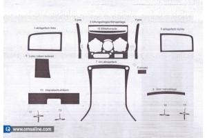 Декор.накладки  на панель приб-в, 15 шт.  KARBON (Boxer / Jumper / Ducato)