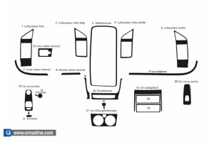 Декор.накладки  на панель приб-в, 20 шт.  KARBON (Boxer / Jumper / Ducato)