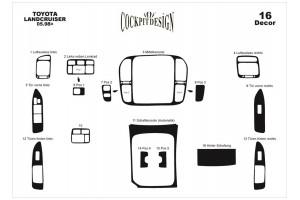 Декор.накладки  на панель приб-в, 16 шт.  KARBON ( Landcruiser)