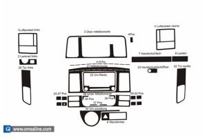 Декор.накладки  на панель приб-в, 18 шт.  Дерево (Transporter T5)