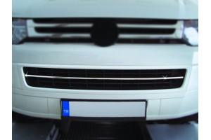 Накладка на передний бампер (нерж.)  (T5 TRANSPORTER  VAN 7****)